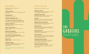 Mexican Desert Takeout Menu