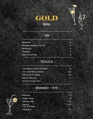 Narrow Bar Menu