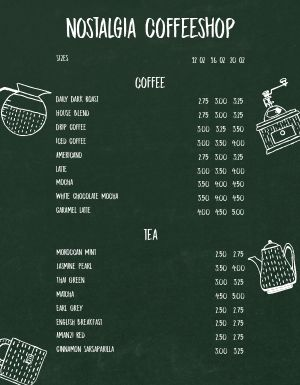 Old School Coffee Menu