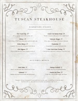 Washed Steakhouse Menu