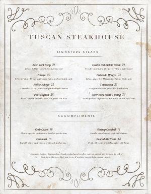 Washed Steakhouse Menu