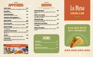 Cantina Bar Mexican Takeout Menu