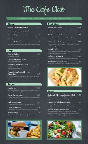Club Cafe Menu