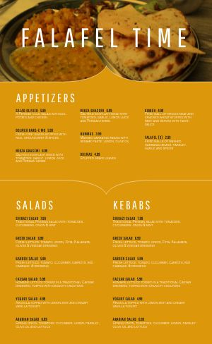 Falafel Middle Eastern Menu