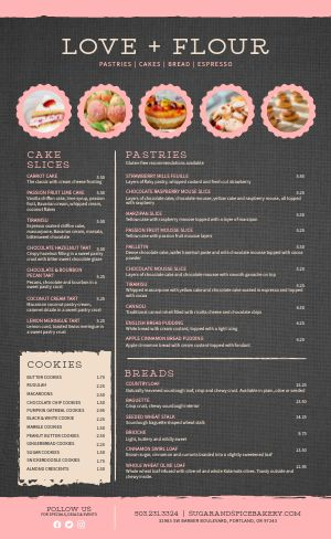 Pink Bakery Menu