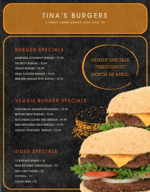Burger Promo Menu
