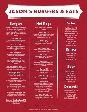 Red Meat Burger Menu