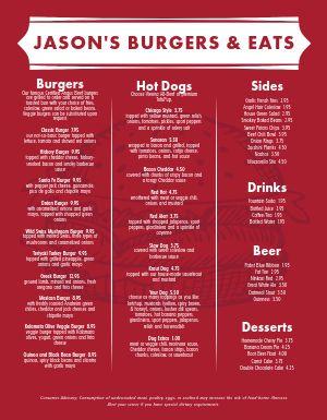 Red Meat Burger Menu