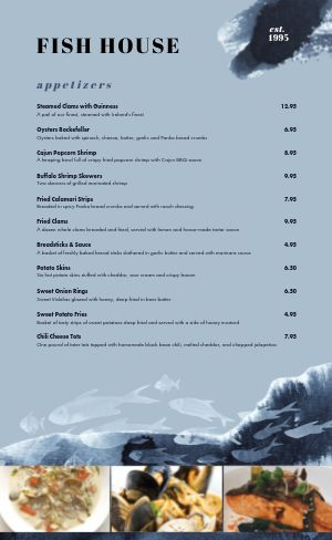 Dine In Seafood Menu