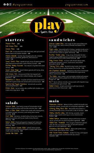 Sports Bar Football Menu