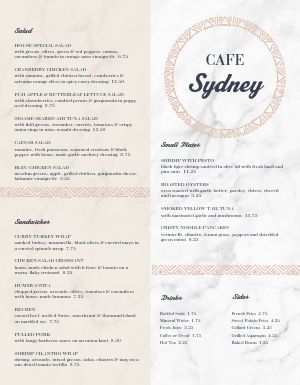 Marble Cafe Menu
