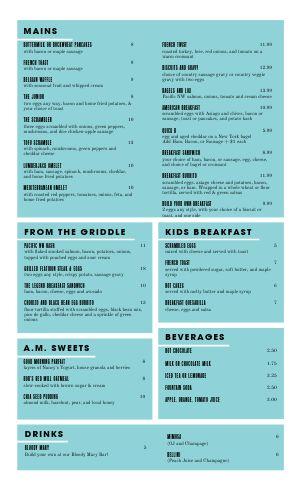 Light Blue Breakfast Menu