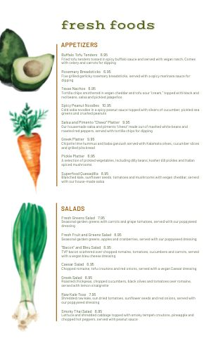 Farm To Table Menu