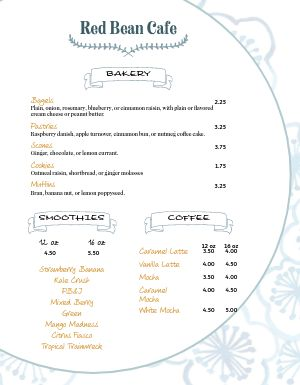 Cafe Baked Goods Menu