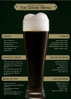 Irish Beer Bar A4 Menu