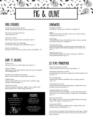 Black and White French Cafe Menu