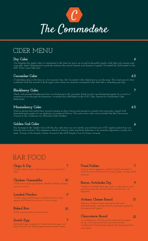 Hotel Bar Menu Example