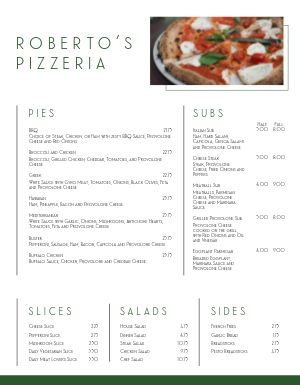 Clean Pizza Menu