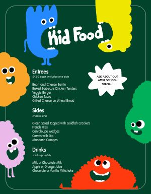 Colorful Monster Kids Menu
