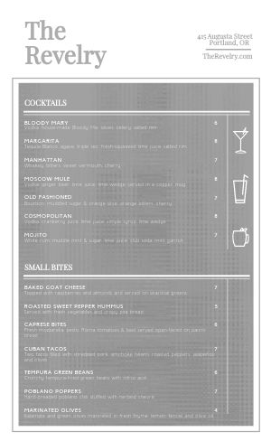 Simple Cocktail Menu