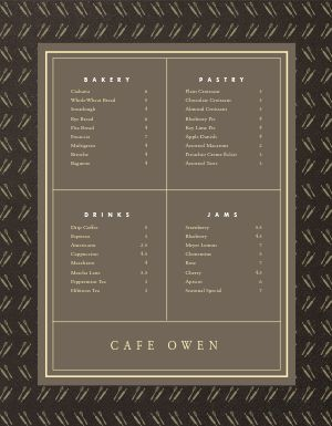 Cafe Bakery Menu