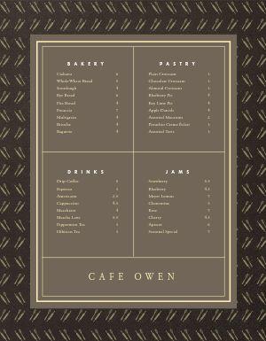 Cafe Bakery Menu