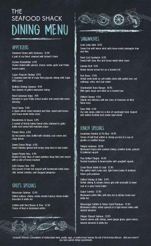 Slate Seafood Menu