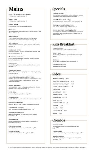 Breakfast Mains Menu