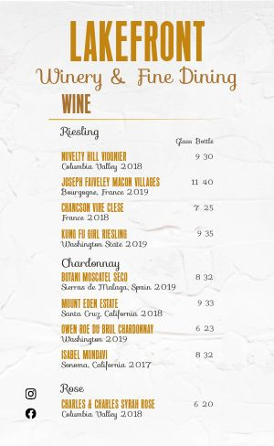 Fine Dining Winery Menu