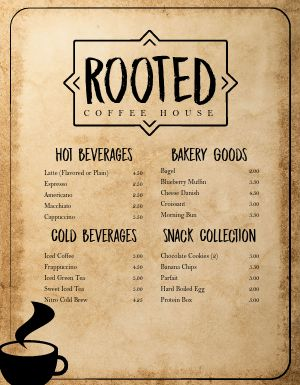 Rustic Coffee Menu