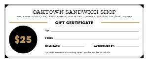 Sandwich Gift Certificate