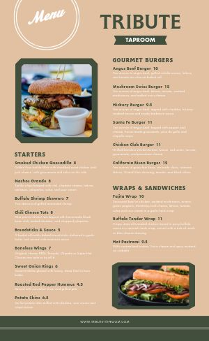 Taproom Burger Bar Menu