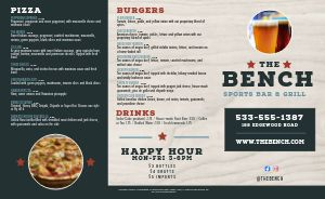 Sports Bar Bench Takeout Menu