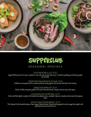 New Season Specials Menu