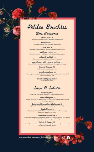 Dine In French Menu