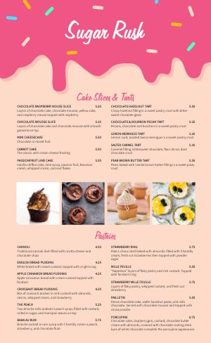 Fun Bakery Menu Example