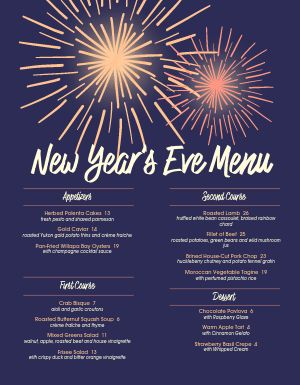 Sparkling New Years Menu