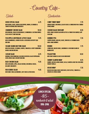 Lunchtime Cafe Menu
