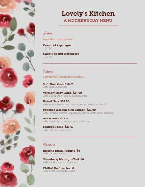 Mothers Day Kitchen Menu