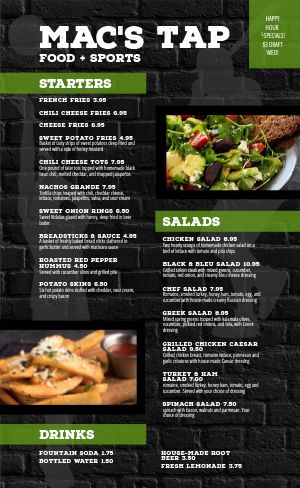Food Sports Bar Menu