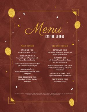 New Years Balloon Menu