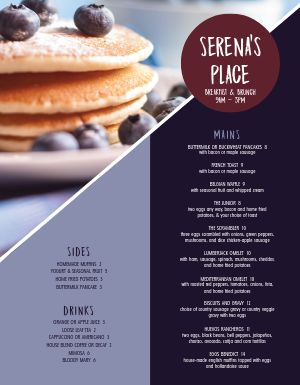 Blueberry Pancake Breakfast Menu