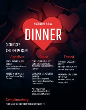 Valentines Romantic Dinner Menu