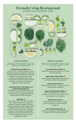 Green Catering Menu