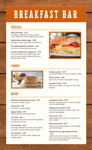 Breakfast Bar Menu