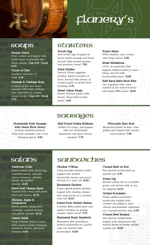 Irish Brewpub Menu