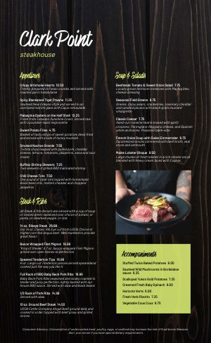 Modern Steakhouse Menu