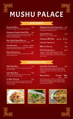 Chinese Cuisine Menu Example