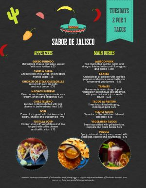 Mexican Cafe Menu