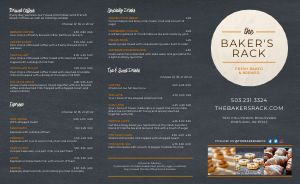 Contemporary Bakery Takeout Menu